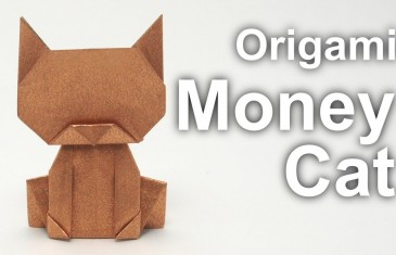 Gatito de la suerte para atraer el dinero hecho en Origami.