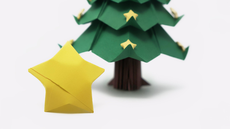 Origami estrellas de la suerte para nuestro rbol de navidad - Arbol de navidad de origami ...