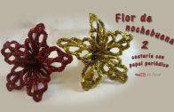 Flor de nochebuena, manualidades recicladas de cestería.