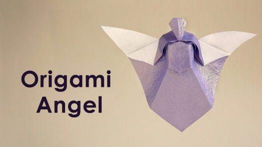 Origami de un ángel para hacer como decoración navideña.