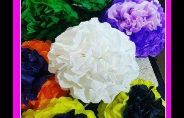 Como hacer flores de papel de seda en diferentes colores y tamaños.