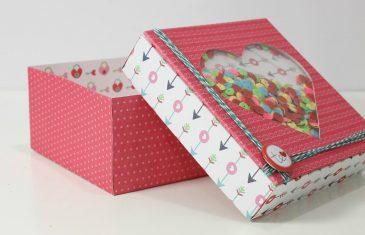 Cajita de papel decorado, manualidades sencillas para regalar.