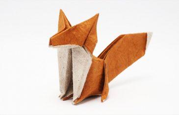 Zorro de papel para realizar una figura de animal en origami.
