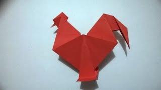 Gallo de papel, origami sencillo siguiendo los pasos de este tutorial.