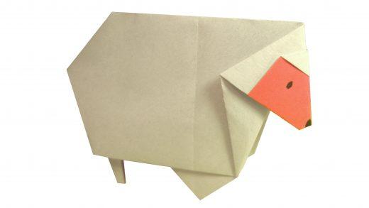 Oveja de papel, origami con formas de animales para niños.