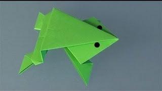 Rana saltarina de papel, origami sencillo para niños.