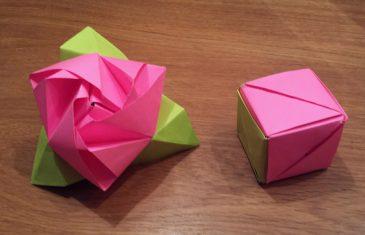 Cubo mágico de papel que se convierte en rosa, origami para sorprender.