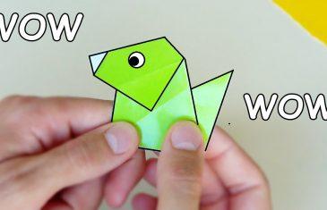 Perro de papel que ladra. Hacer origamis sencillo para jugar.